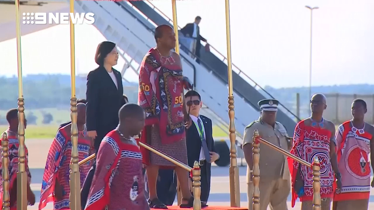 King of Swaziland welcomes Taiwan president