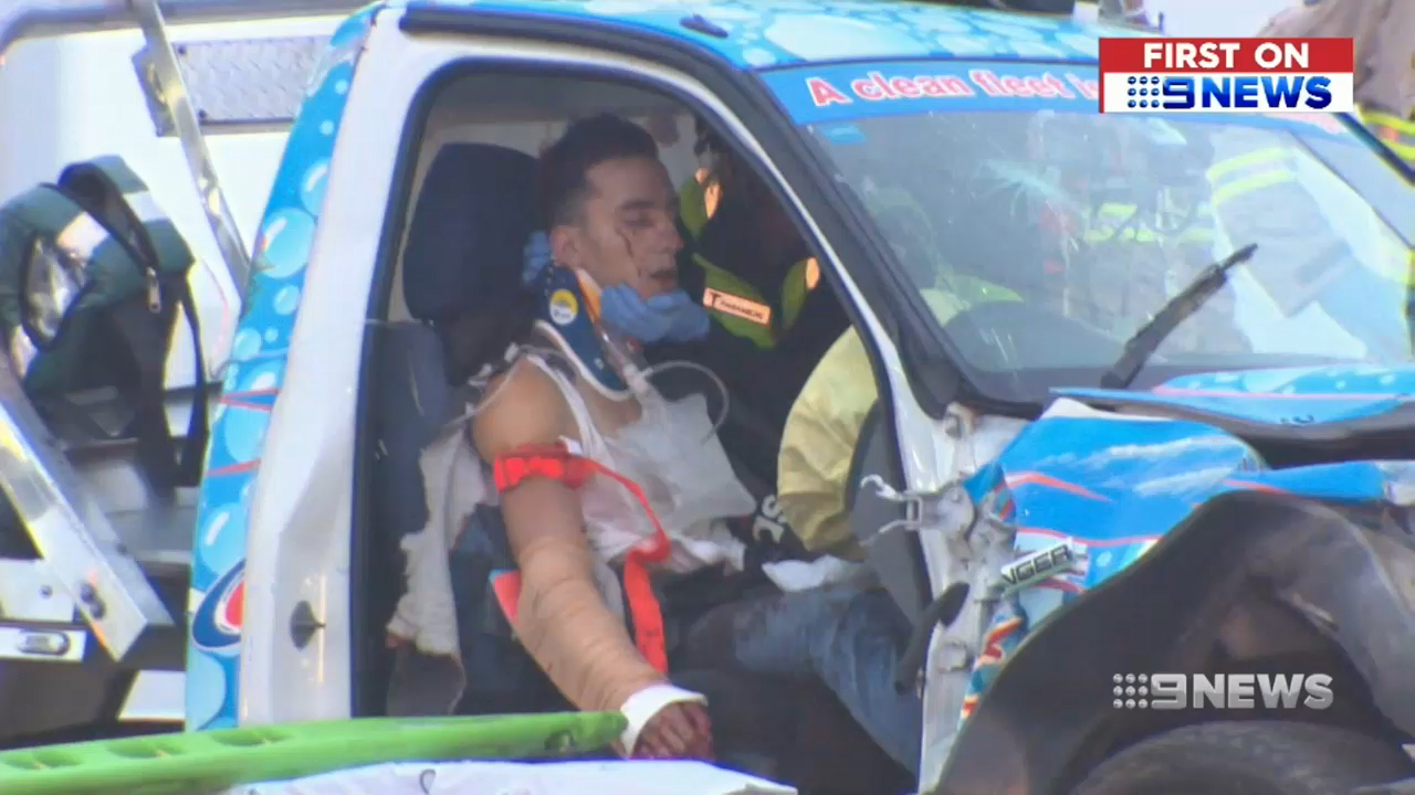 Taxi passenger keeps P-plater's arm in place with seat belt following crash