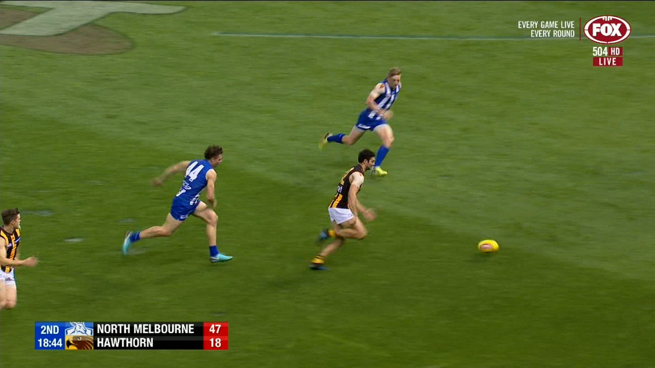 Kangaroos and Hawthorn scrap it out