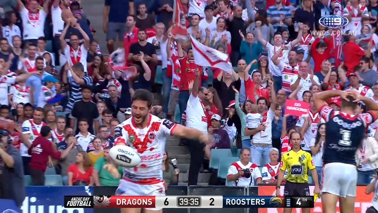 HALF TIME: St George Dragons v Sydney Roosters - Round 8