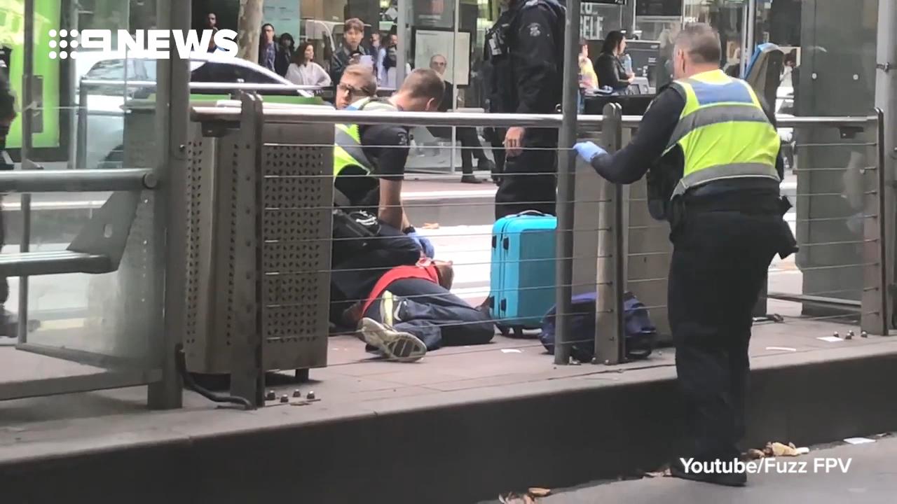 Police arrest man at Melbourne CBD tram stop