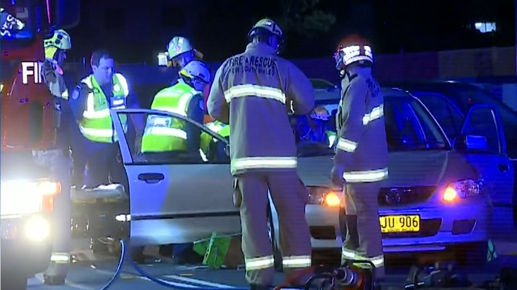 Driver injured in Sydney street race crash