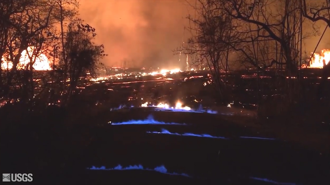 Blue flames leap from Hawaiian street