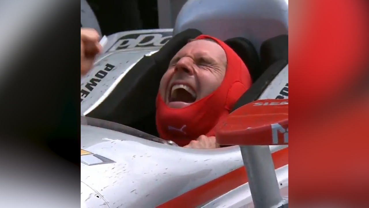 Powers' priceless reaction after winning Indy 500