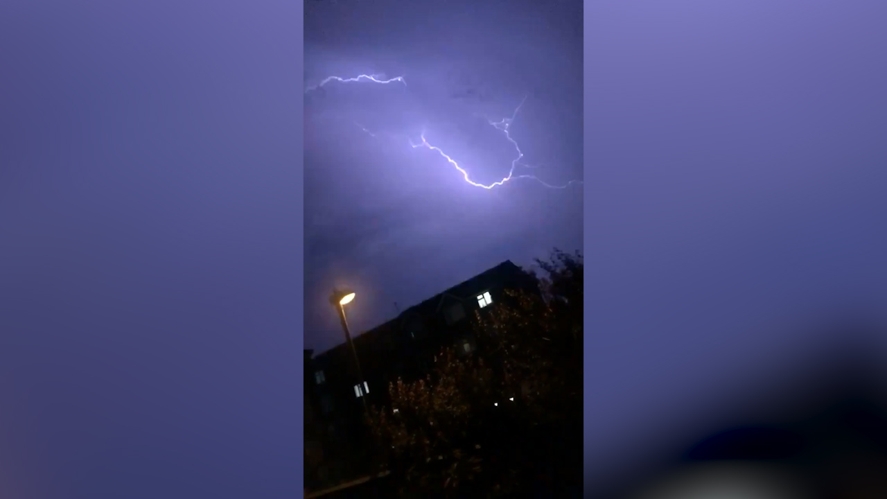 Wild storm lights up UK skies