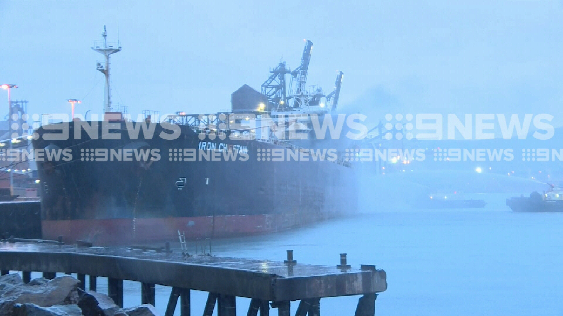 Fire breaks out on ship in Port Kembla Harbour
