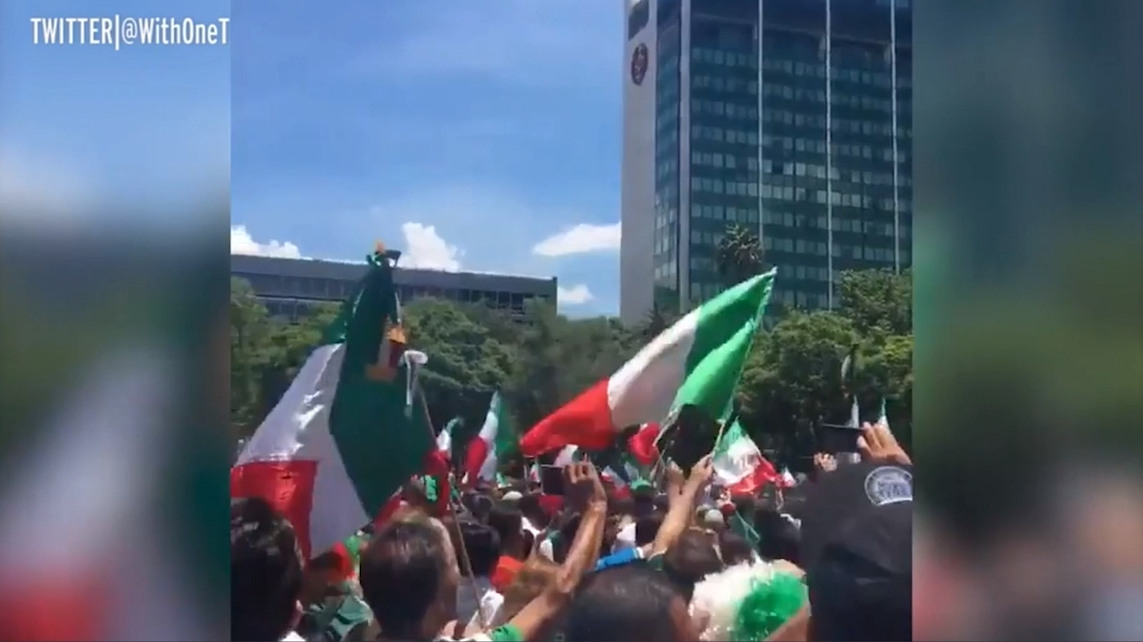 Jubilant Mexican fans celebrate goal against Germany