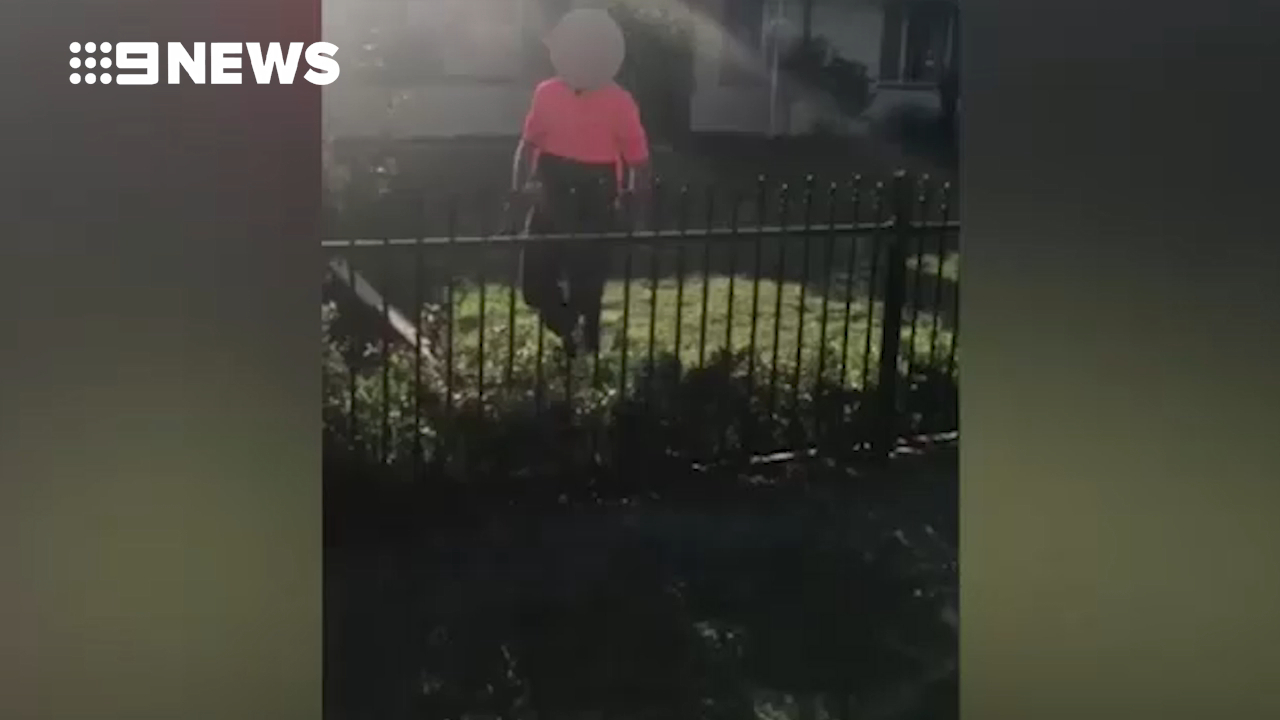 Man threatens father and kids with stick