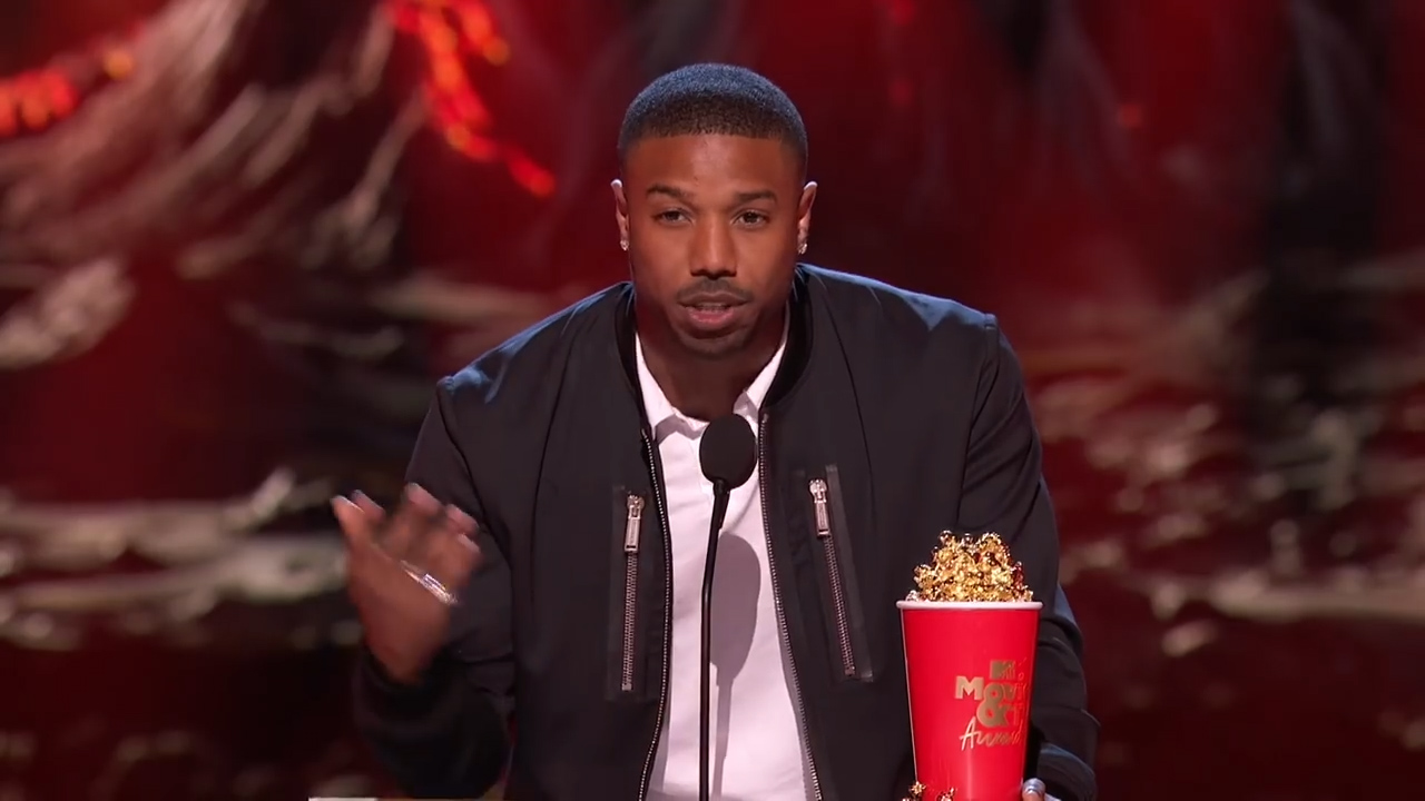 Michael B Jordan accepts his award for MTV'S Best Villain