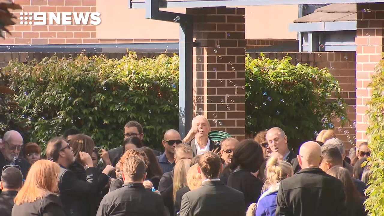 The five-year-old allegedly stabbed to death by his dad has been farewelled