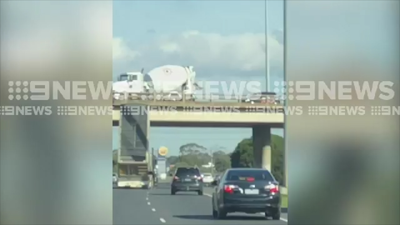 Truck slams into bridge