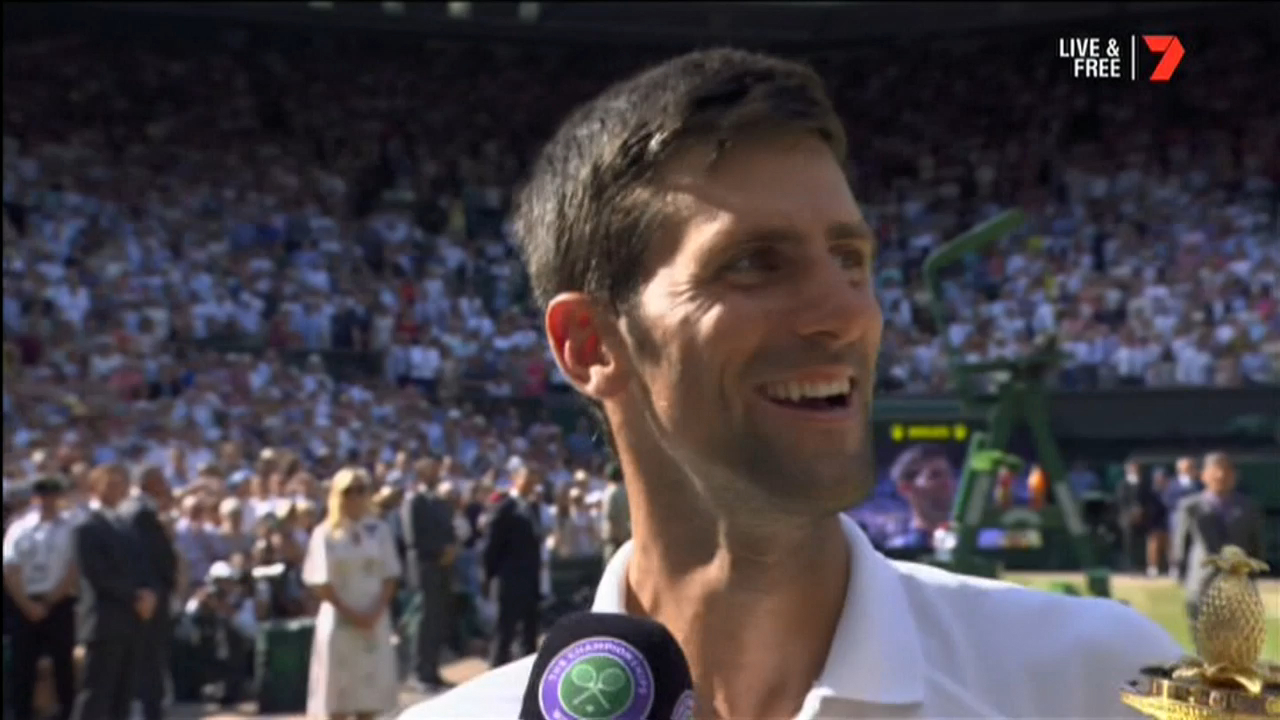 Djokovic shares WImbledon win with his son