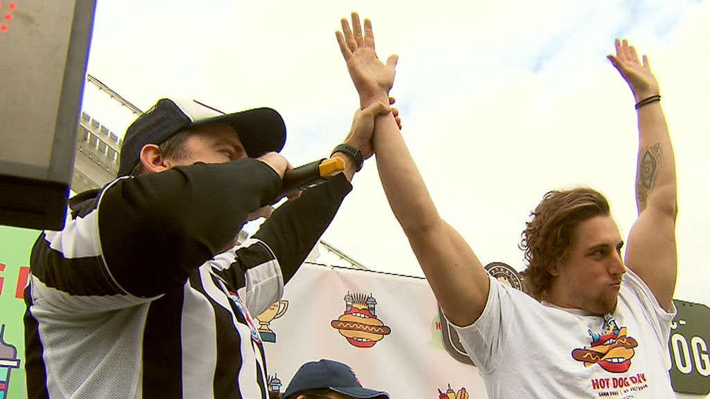 Hotdog eating competition underway in Melbourne