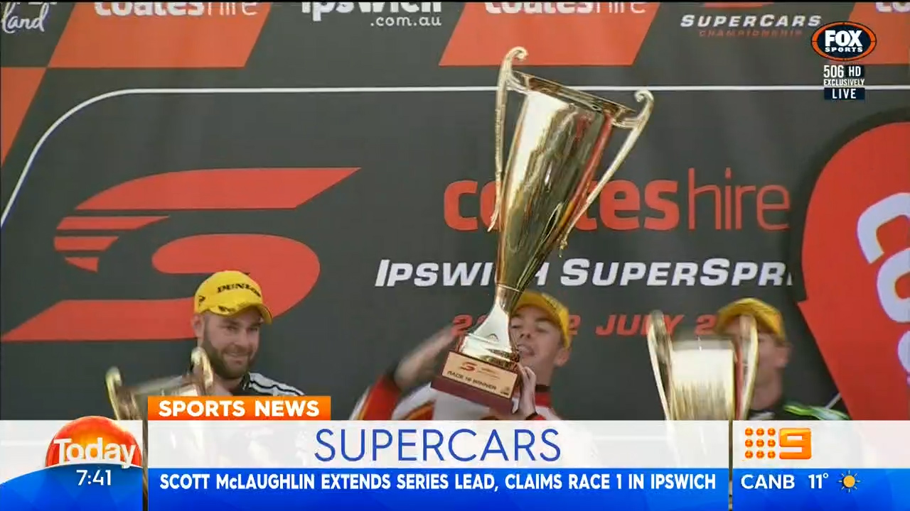 McLaughlin wins Race 1 in Ipswich