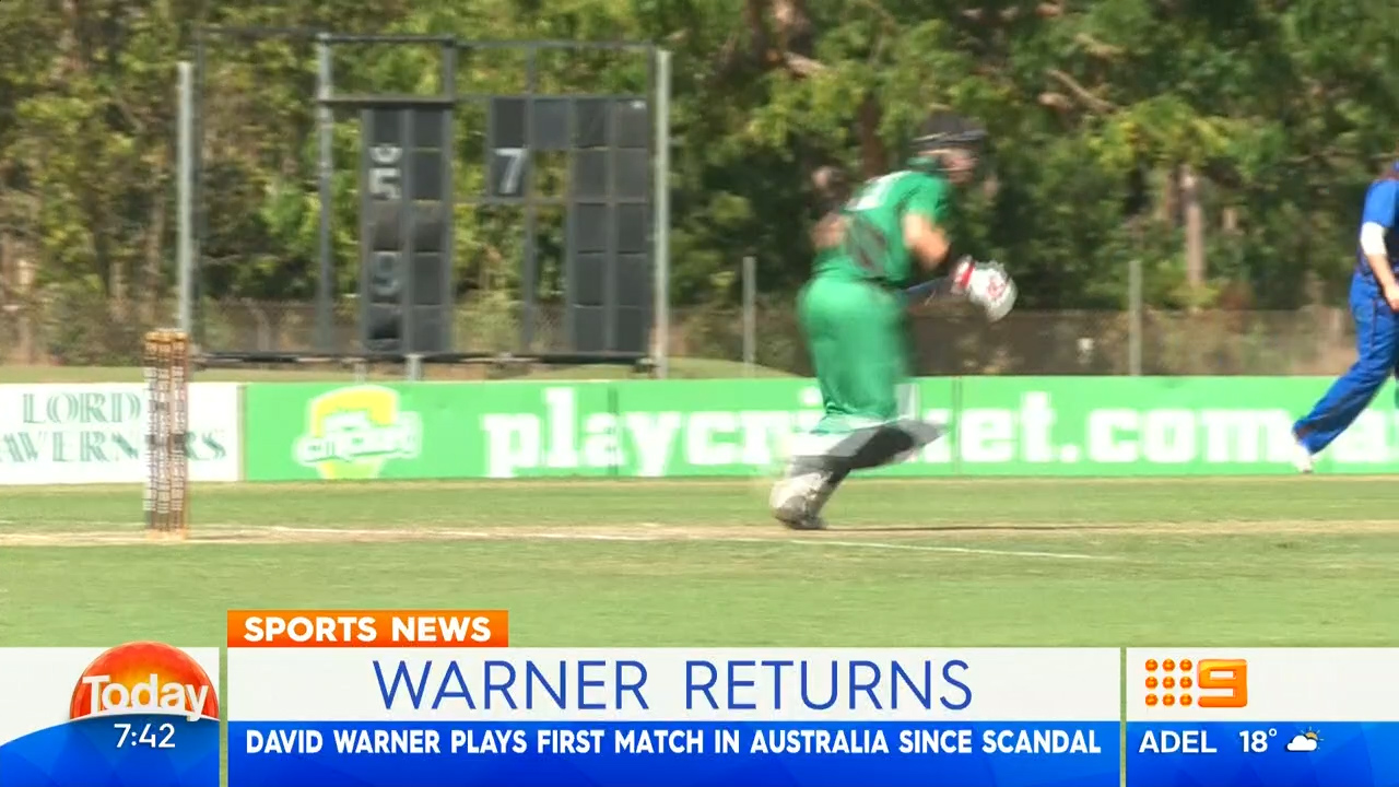 Warner plays first match since suspension