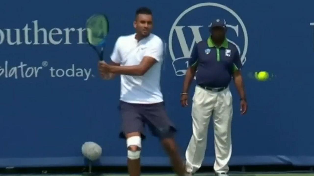 Kyrgios loses shoes but wins match