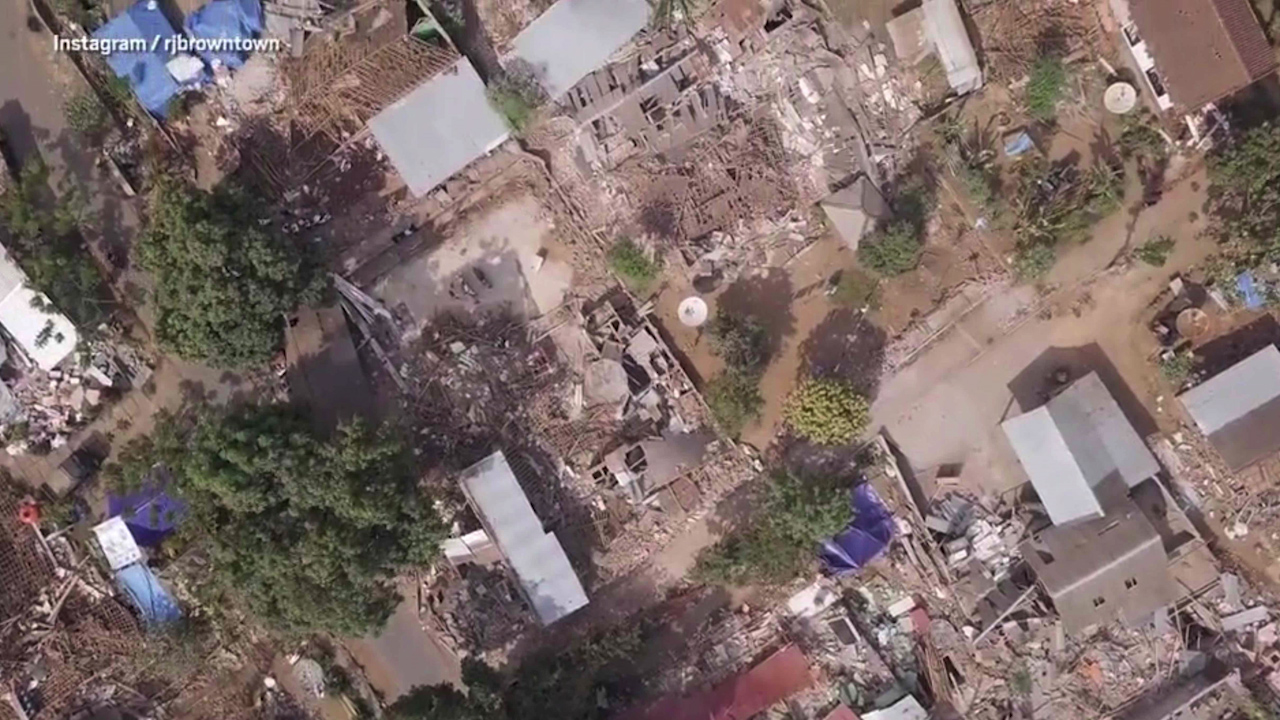 Drone footage captures devastation left by Lombok earthquake