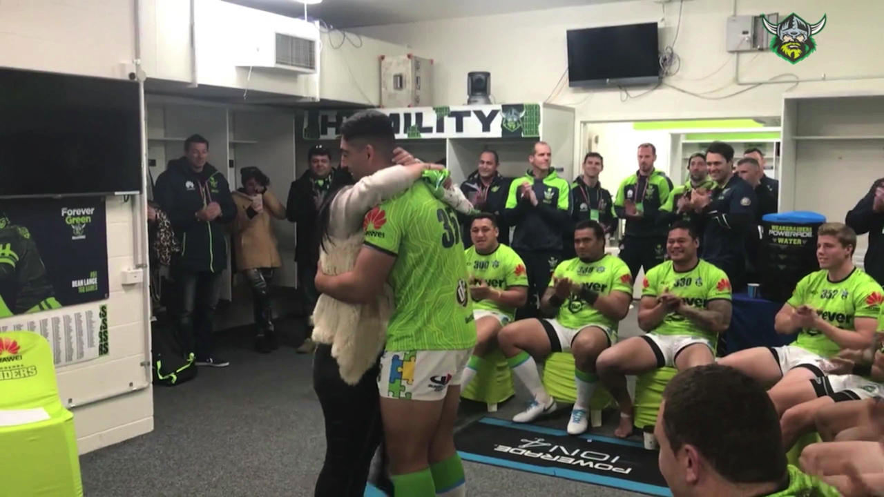 Teary jumper presentation to Raiders young gun