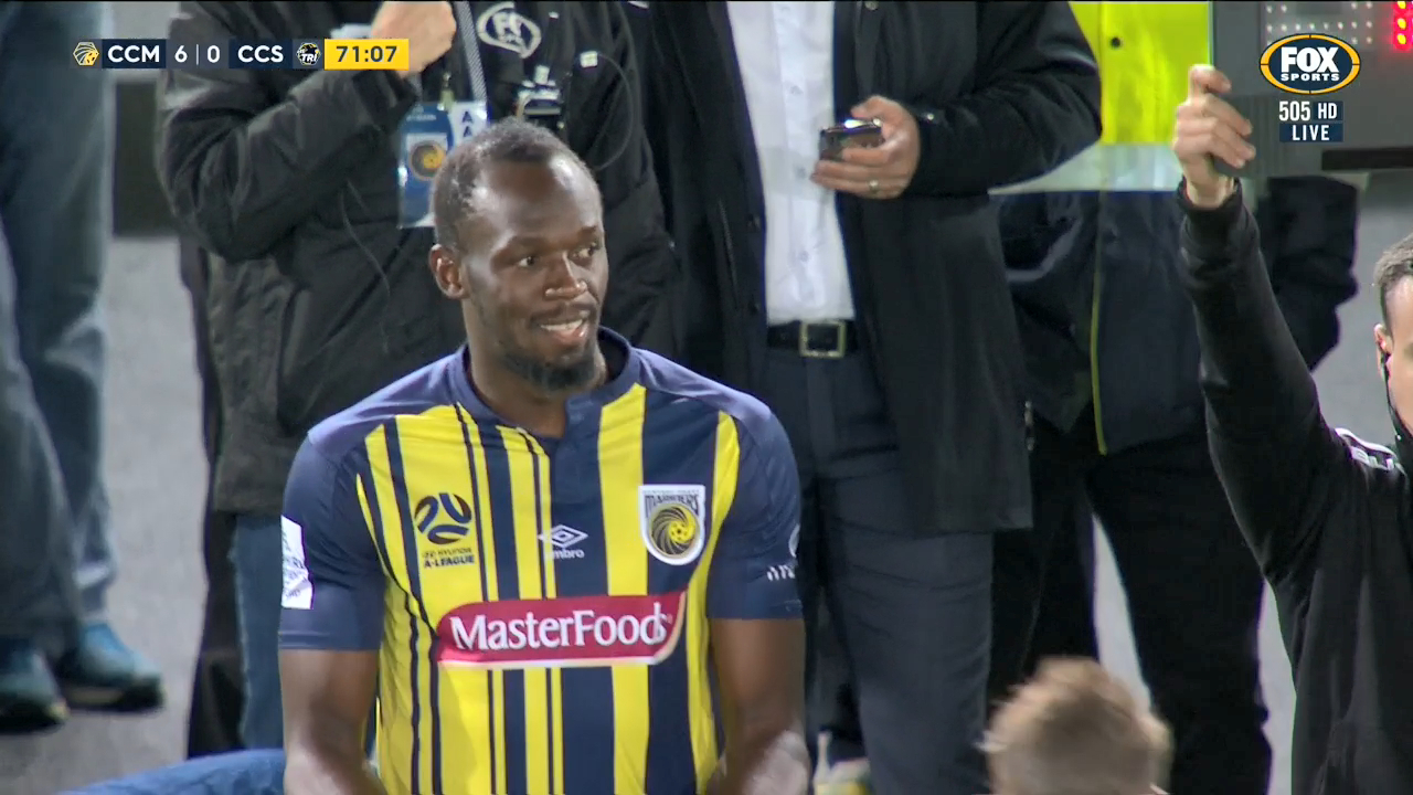 Usain Bolt trial: Sprint king plays first minutes for Central Coast Mariners