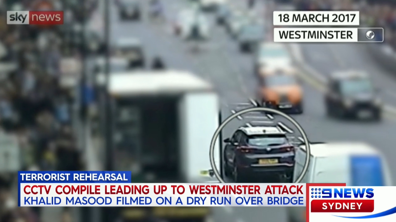 CCTV shown of Khalid Masood's movements leading up to the Westminster Bridge attack