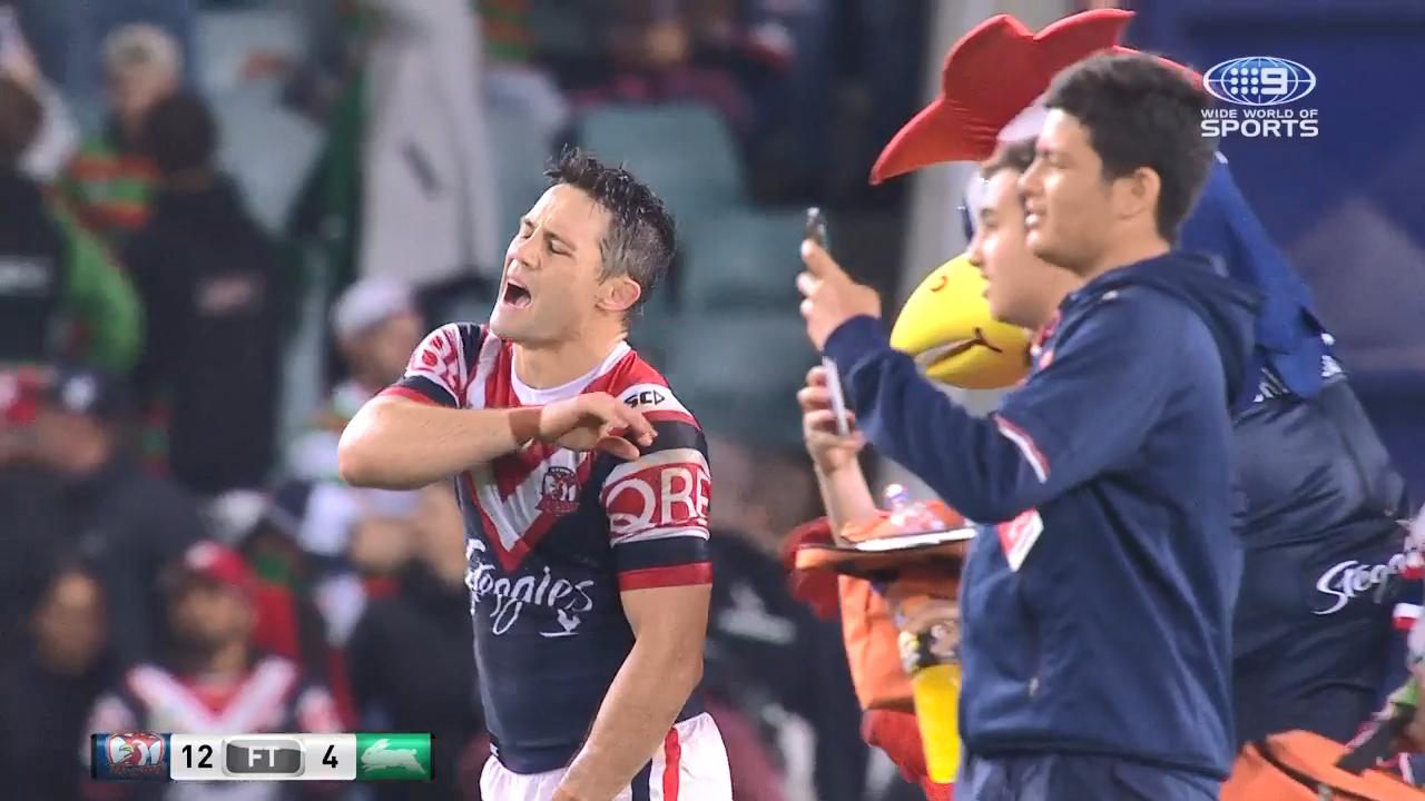 Roosters mascot whacks Cronk