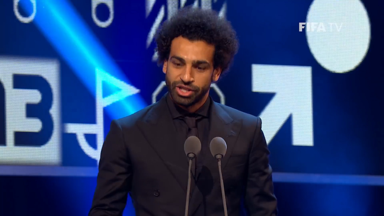 Salah accepts 2018 FIFA Puskas Award