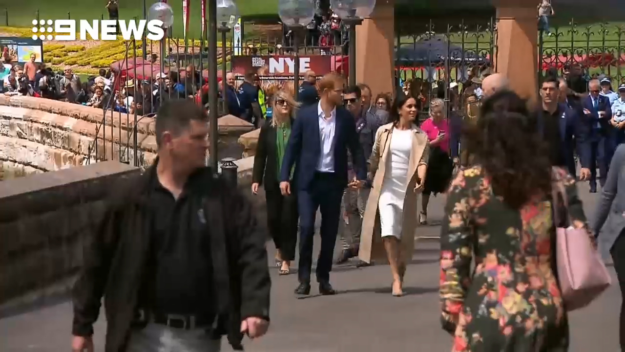 Prince Harry and Meghan arrive at the Sydney Opera House