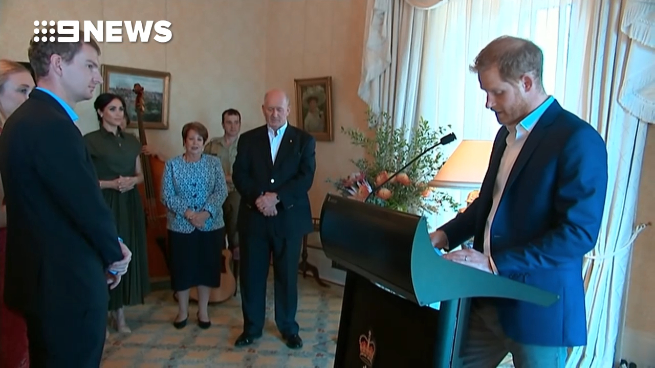 Harry gives speech at Admiralty House reception