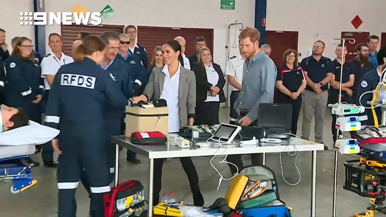 Prince Harry and Meghan with the Royal Air Doctor Service in Dubbo