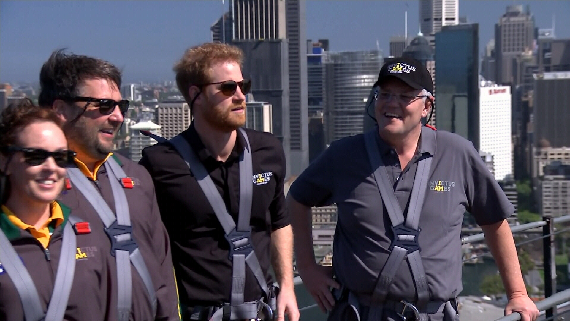 Prince Harry and Scott Morrison at the top of Harbour Bridge