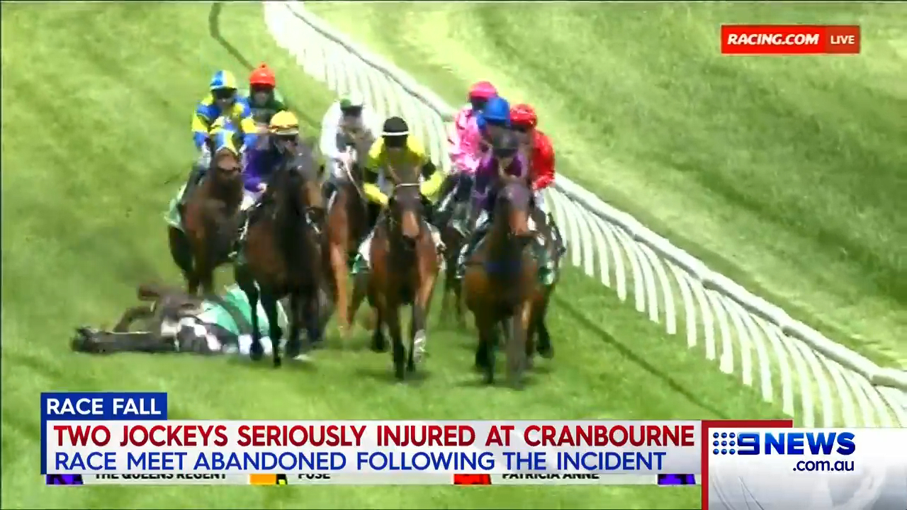 Jockeys in hospital after horror fall