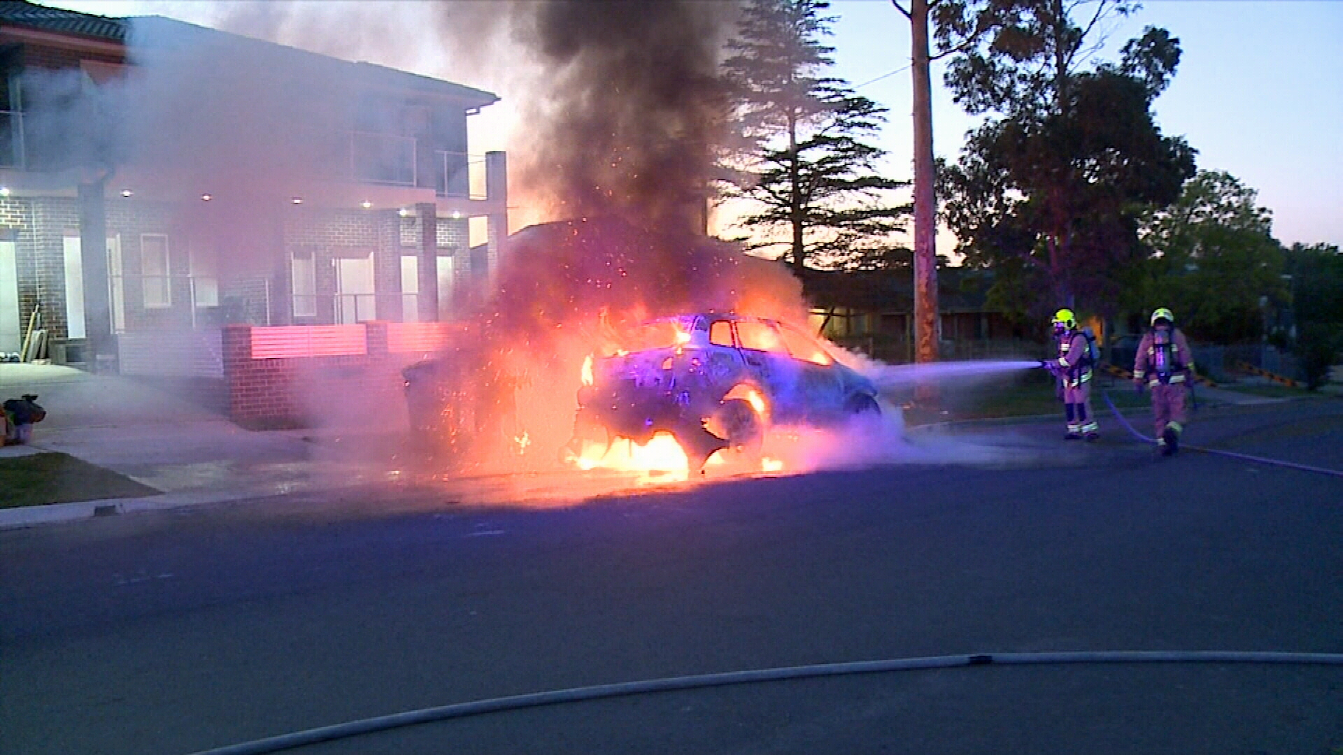 Car fire in Merrylands