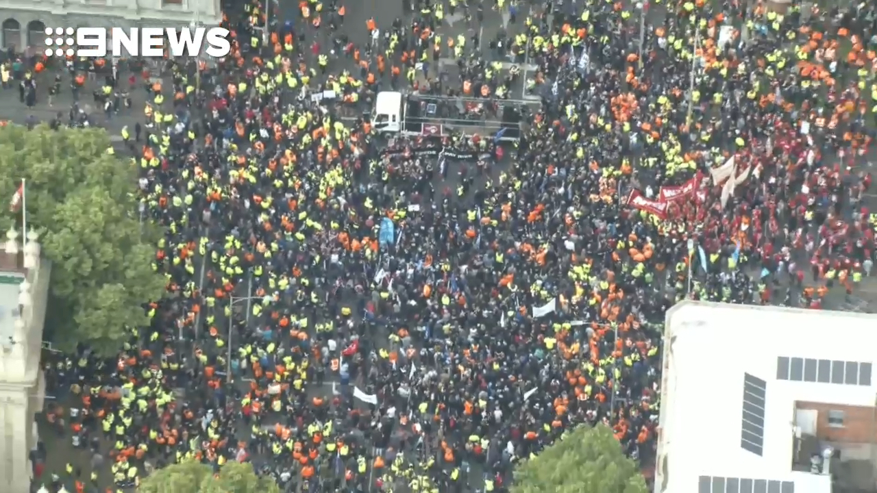 Massive protest over workers' rights