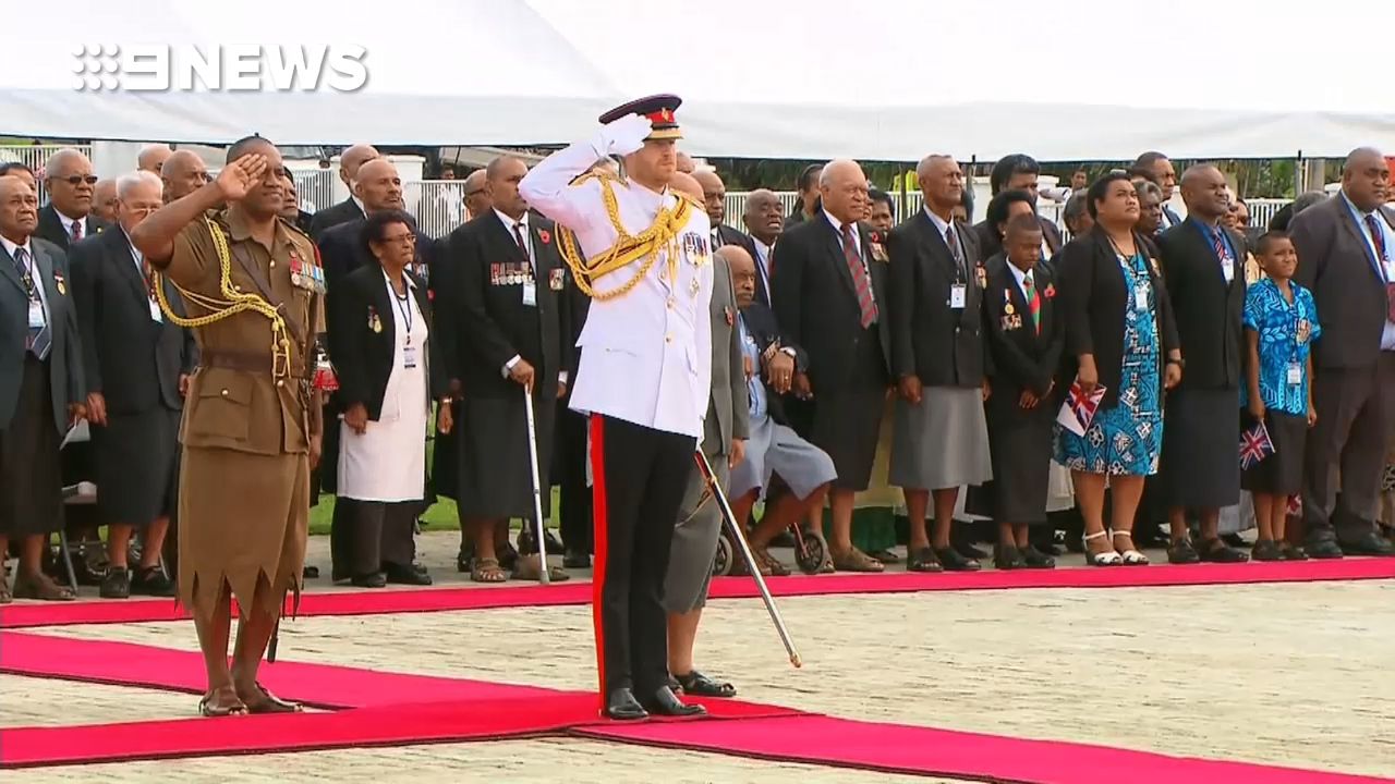Prince Harry lays a wreath at the Suva War Memorial
