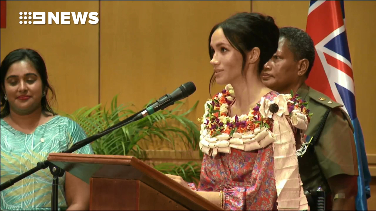 Meghan Markle gives a speech at the University of the South Pacific