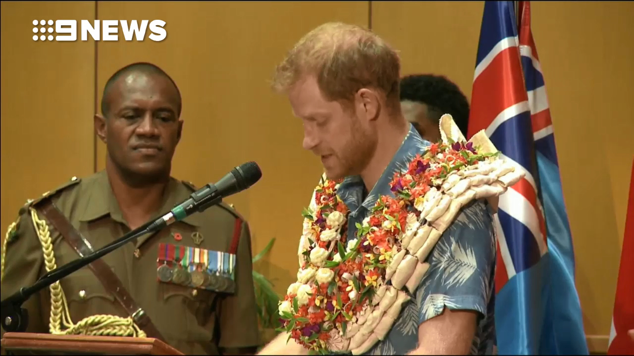Prince Harry gives a speech at the University of the South Pacific