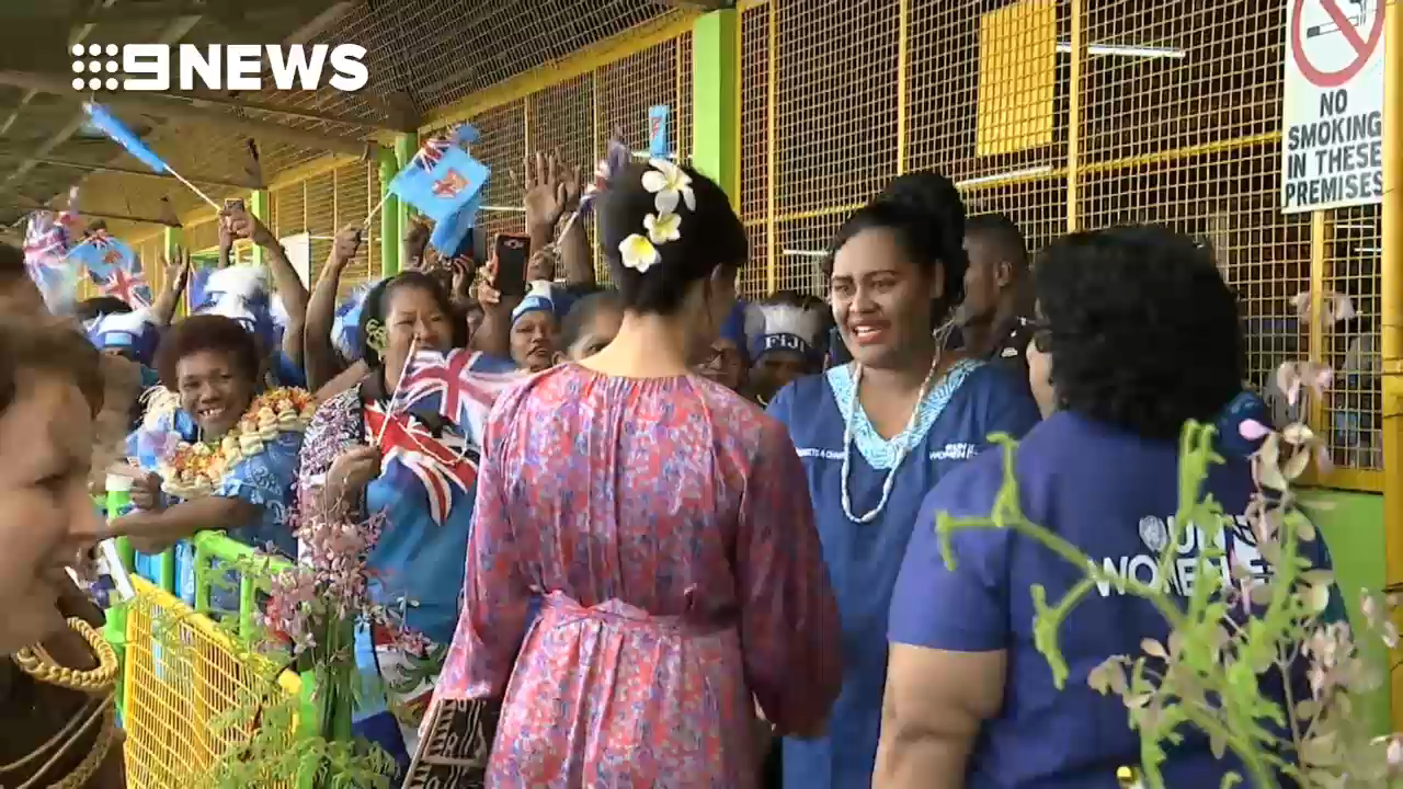 Meghan Markle meets with a UN Women's Project in Fiji