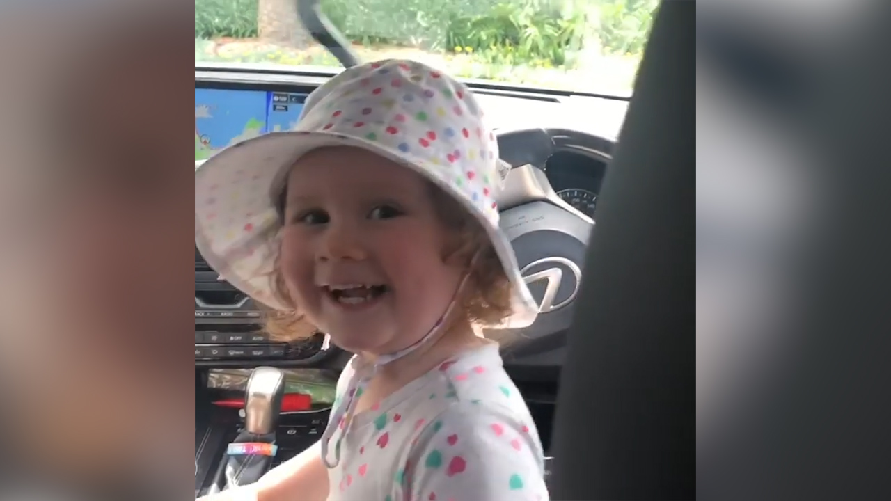 Kyly Clarke's daughter, 2, takes the wheel
