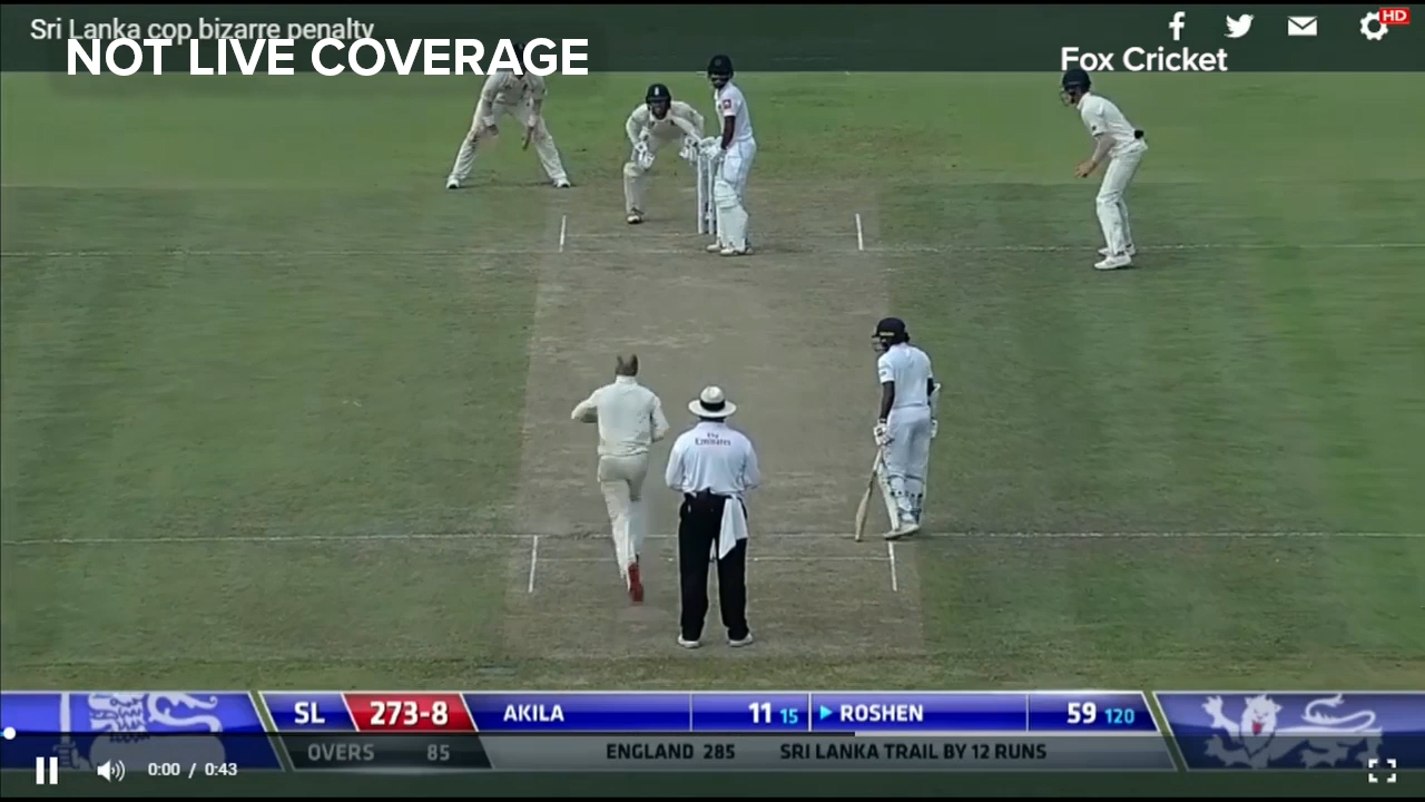 Sri Lanka batsman punished by bizarre rule