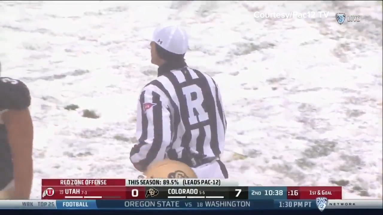 Ref yells at fans to stop throwing snowballs