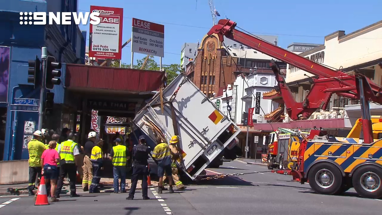 Truck crash in Fortitude Valley