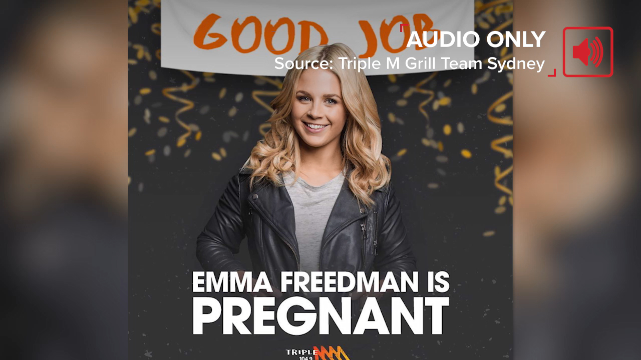 Emma Freedman's pregnancy announcement on Triple M's The Grill Team