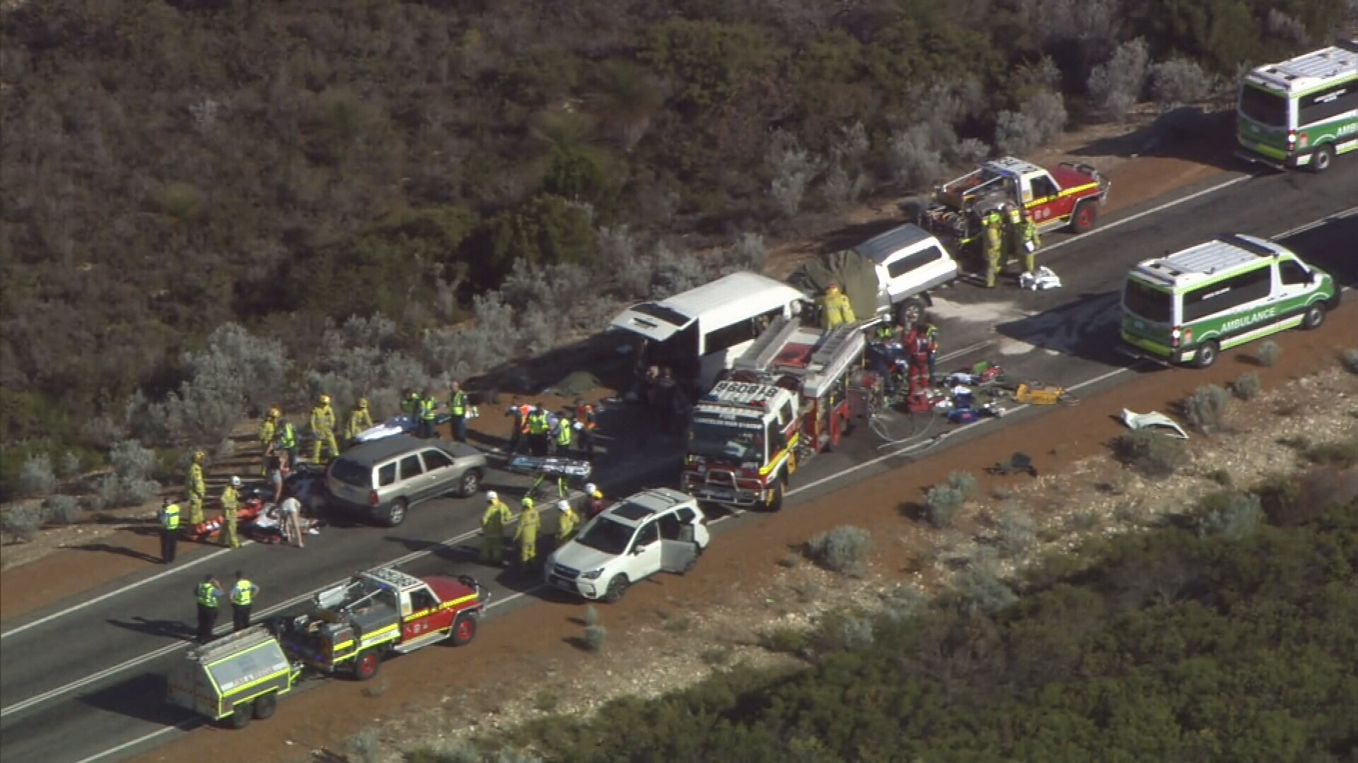 Two people killed and ten injured in WA crash