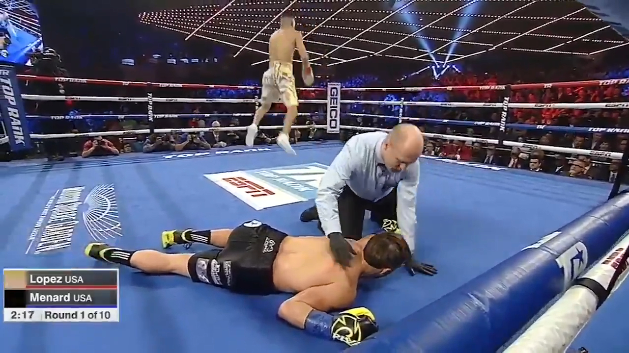 Lopez backflips after KO victory