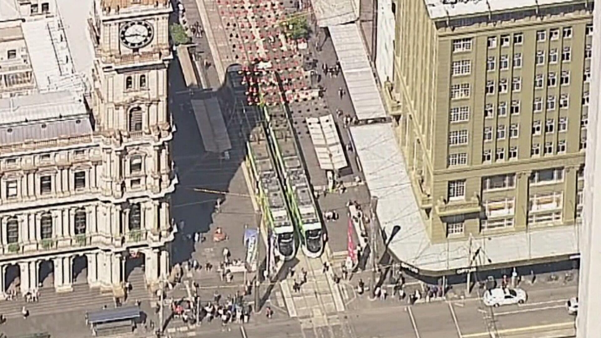Multiple trams stopped in Melbourne's CBD