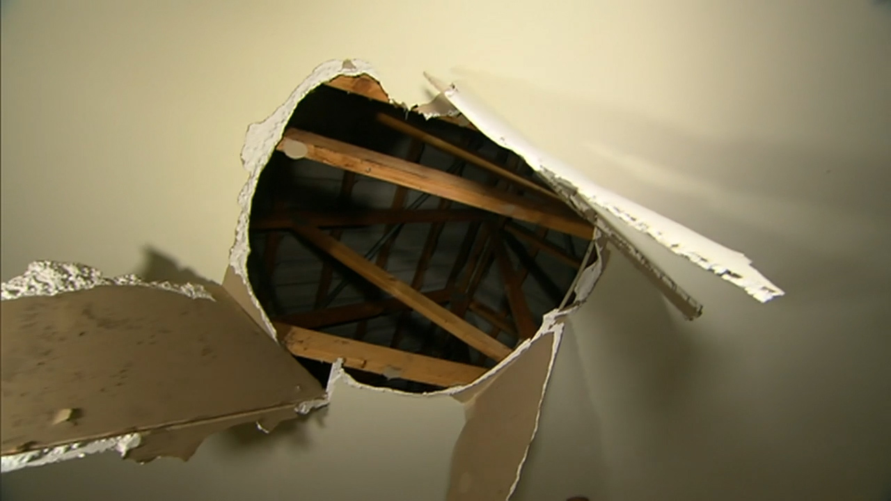 Alleged burglar falls through ceiling