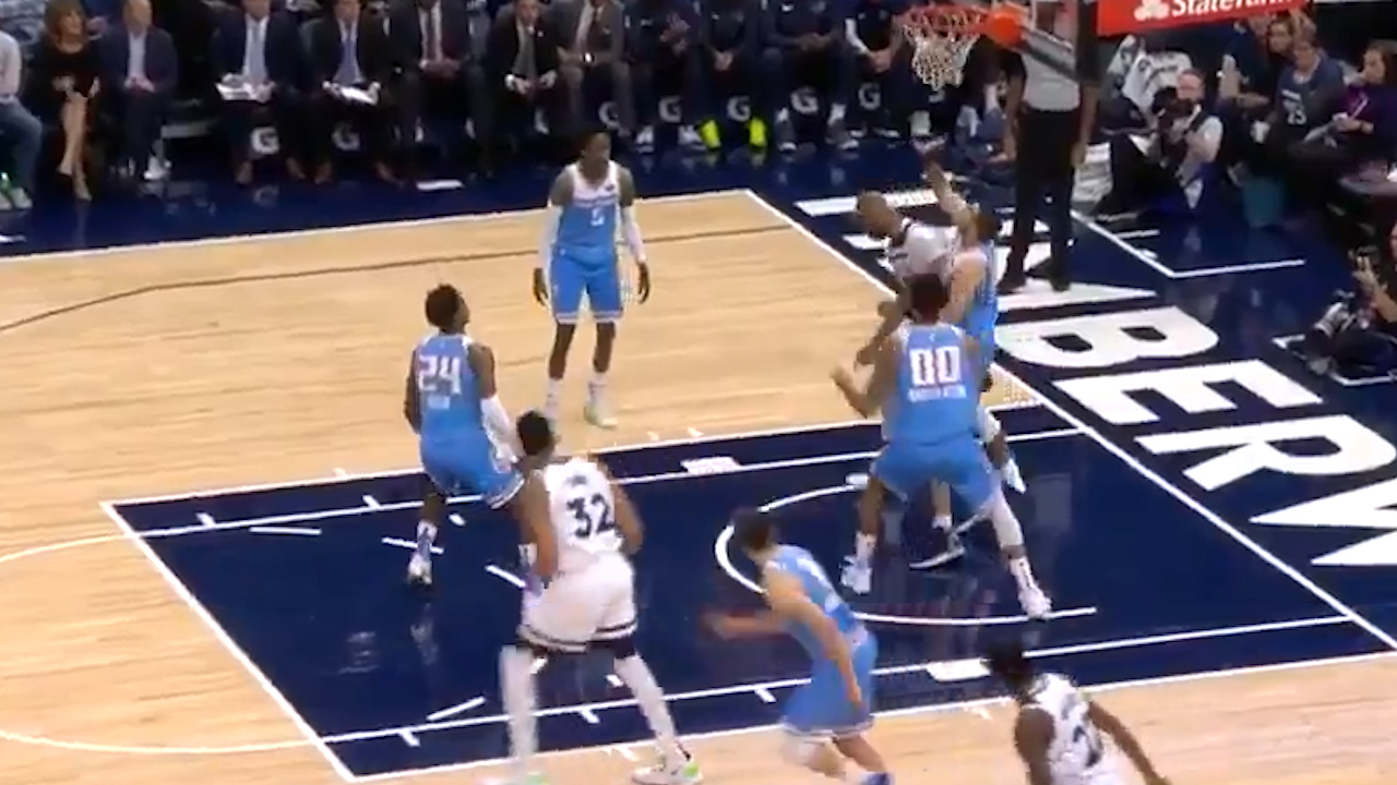Gibson blocks shot with his shoe