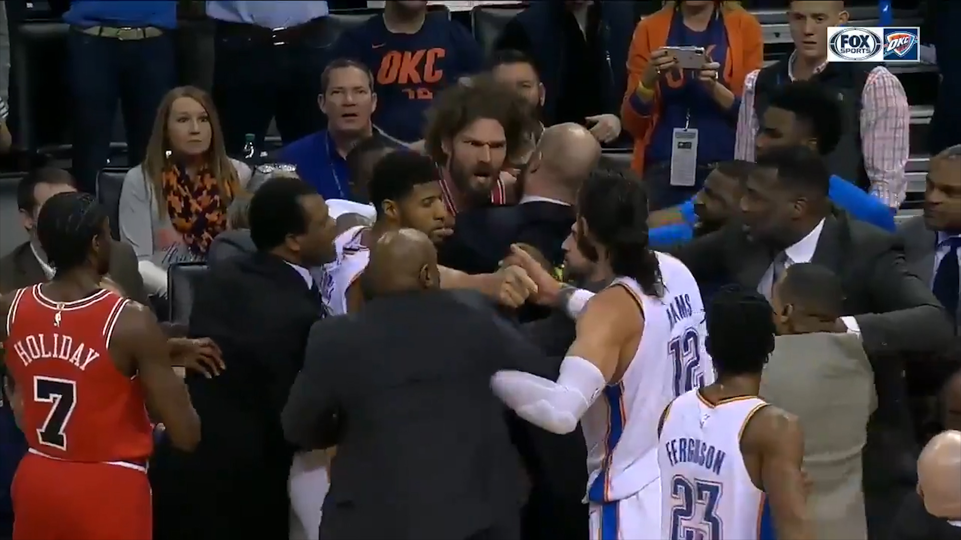 NBA scuffle spills into the crowd