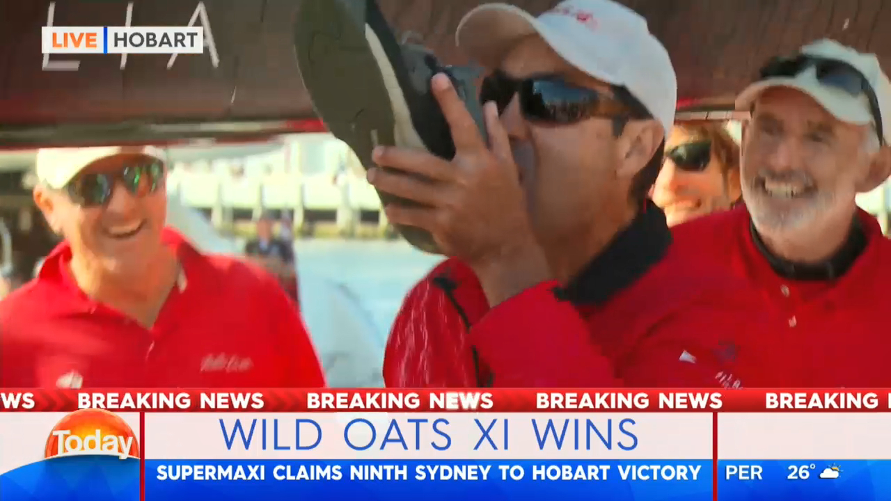 Wild Oats XI skipper does a shoey
