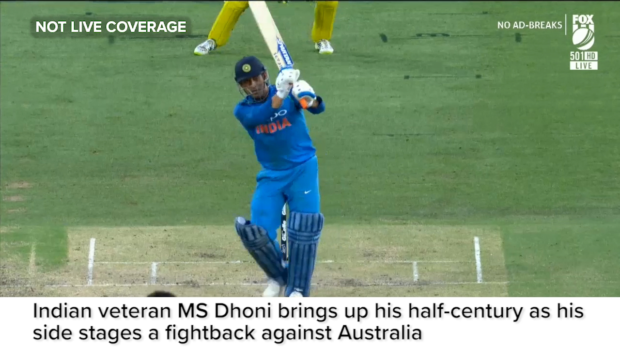 Dhoni brings up a hard-fought 50